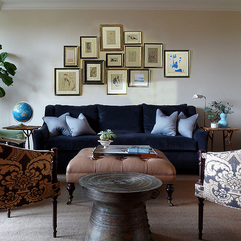 Redmond Aldrich Design - living rooms - blue, velvet, sofa, loveseat, clay, beige, tufted, square, ottoman, black, caster, legs, pale, blue, silk, pillows, navy blue, tan, damask, upholstered, chairs, TV, eclectic, art gallery, fiddle leaf fig, plant, velvet sofa, blue sofa, blue velvet sofa,