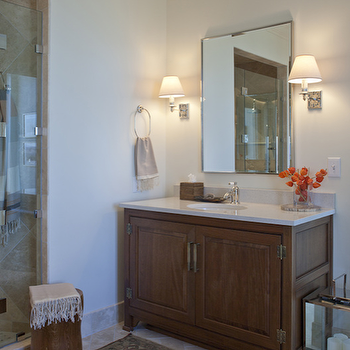 Capella Kincheloe Interior Design - bathrooms - extra-wide, single, walnut, stained, single, bathroom vanity, cream, quartz, countertop, mirror, sconces, travertine, tiles, floor, extra wide vanity, extra wide single vanity, extra wide single bathroom vanity,