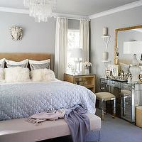 Martensen Jones Interiors - bedrooms - gray, walls, light, brown, velvet, headboard, silver, metallic, pillows, white, flokati, pillows, blue, quilt, lilac, linen, bench, purple, lilac, cashemere, throws, grasscloth, nightstands, tables, white, drapes, mirrored, vanity, mirrored, vanity stool, upholstered, yellow, geometric, fabric, Venini Clear Tubular Glass Chandelier,