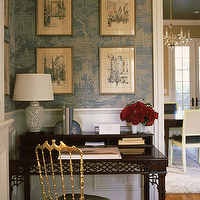 Redmond Aldrich Design - dens/libraries/offices - gold, chair, green, silk, seat, cushion, chippendale, desk, chair, rail, wainscoting, white, lamp, teal, blue, gold, chinoiserie, wallpaper, chinoiserie wallpaper, teal and gold wallpaper,