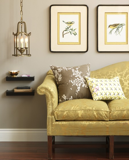 House & Home - living rooms - Sherwin Williams - Analytical Gray - gray, walls, yellow, silk, sofa, ebony, stained, wood, chunky, floating shelves, art, gray walls, gray paint colors,