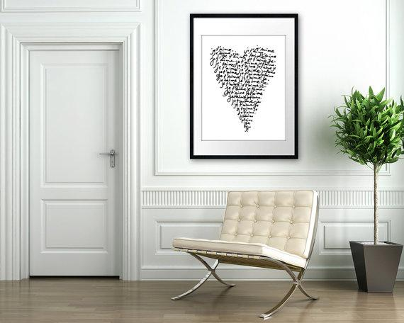 Art/Wall Decor - Je Taime HUGE Archival Poster 16x20 French by theloveshop on Etsy - white, black, heart, love, print