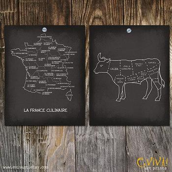 Art/Wall Decor - La France Culinaire et Le Boeuf Culinary French Map and by evivart - culinary, map, art