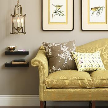 House & Home - living rooms - gray, walls, yellow, silk, sofa, ebony, stained, wood, chunky, floating shelves, art, gray walls, gray paint colors, gray walls, gray living room walls, analytical gray, gray and yellow living room, yellow sofa, camelback sofa, yellow camelback sofa,