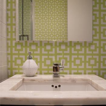 Sabbe Interior Design - bathrooms - green, chain link, wallpaper, espresso, brown, stained, wood, single, bathroom vanity, washstand, marble, countertop, chain link wallpaper, geometric wallpaper, green geometric wallpaper, green chain link wallpaper,