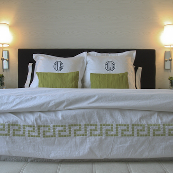 Sabbe Interior Design - bedrooms - white, hotel, duvet, green, Greek key, trim, green, monogrammed, shams, black, headboard, spring, green linen, pillows, polished nickel, wall, sconces, greek key trim, greek key bedding, greek key duvet, white and green greek key duvet,