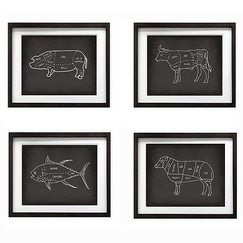 Art/Wall Decor - Animal Pork Beef Sheep Tuna Butcher Cuts Art Print by evivart - culinary, art, print