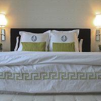 Sabbe Interior Design - bedrooms - white, hotel, duvet, green, Greek key, trim, green, monogrammed, shams, black, headboard, spring, green linen, pillows, polished nickel, wall, sconces, greek key trim, greek key bedding, greek key duvet,