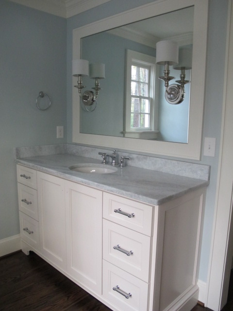 Blue Bathroom Paint, Transitional, bathroom, Benjamin Moore Pale Smoke, Sherry Hart Designs