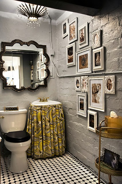 Gray and Yellow Bathroom - Transitional - bathroom - Inhabit Design