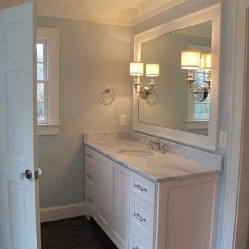 Blue Bathroom Paint Colors, Transitional, bathroom, Benjamin Moore Pale Smoke, Sherry Hart Designs