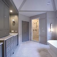 Fitzgerald Construction - bathrooms - freestanding tub, gray walls, warm gray cabinets, marble countertops, gray bathroom cabinets, gray cabinets, gray bathroom vanity, gray bathroom vanities, grey cabinets, grey bathroom cabinets,