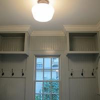 Fantastic mudroom painted a gorgeous gray green, crown molding painted Sherwin Williams ...