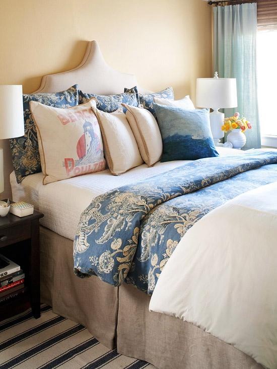 blue and beige bedding transitional bedroom bhg