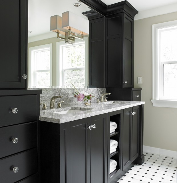 Black bathroom vanity transitional bathroom benjamin moore natural linen the sky is the - Painting bathroom cabinets black ...