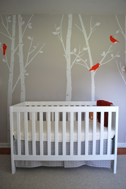Salt & Nectar - nurseries - Sherwin Williams - Grayish - Etsy designedDesigner Free Owl Decal -Tree Wall Decal Wall Sticker - Birds in the Urban Forest,, Baby Mod - Modena 3-in-1 Fixed-Side Convertible Crib - White, Waverly Cross Section Charcoal, gray, walls, treel mural, tree wall mural, wall stencil, tree wall stencil, tree stencil for wall,