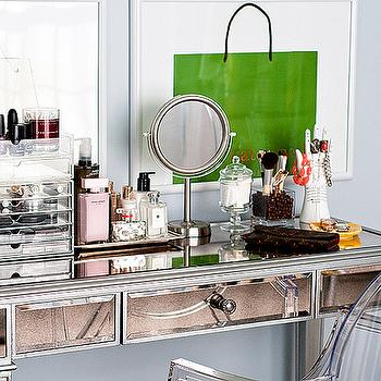 A cup of Mai - closets - gray, blue, walls, perfume, tray, acrylic, cosmetics, tray, hayworth vanity, mirrored vanity, Pier 1 Imports Hayworth Vanity, Kartell Ghost Chair, Louis Vuitton Emelie Wallet - Monogram Collection,