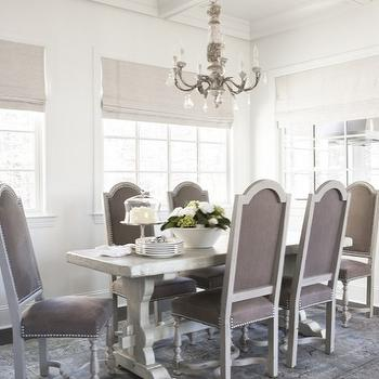 Linda McDougald Design - dining rooms - beadboard, coffered, ceiling, oatmeal, linen, roman shades, trestle, dining table, purple, velvet, French, dining chairs, silver, nailhead trim, blue, purple, wool, rug, french table, french dining table, trestle dining table,