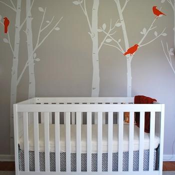 Salt & Nectar - nurseries - gray, walls, treel mural, tree wall mural, wall stencil, tree wall stencil, tree stencil for wall, Etsy designedDesigner Free Owl Decal -Tree Wall Decal Wall Sticker - Birds in the Urban Forest, , Baby Mod - Modena 3-in-1 Fixed-Side Convertible Crib - White, Waverly Cross Section Charcoal,