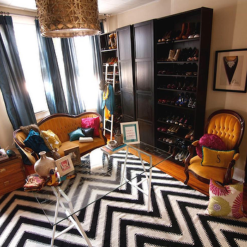 Saudah Saleem Interiors - closets - shoe, shelves, sand, beige, walls, blue, silk, drapes, vintage, French, tufted, sette, chair, white, black, fringe, chevron, rug, glass-top, sawhorse, desk, black and white rug, white and black rug, chevron rug, black and white chevron rug, white and black chevron rug, Ikea Billy Bookcase, Ikea Pax Wardrobe with 2 Doors, Alita Collection Champagne Hanging Pendant Chandelier,
