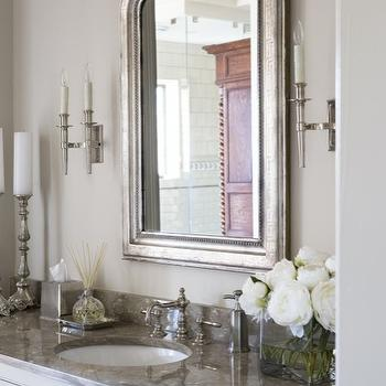 Eloquence Louis Philippe Silver Mirror , French, bathroom, Sherwin Williams Anew Gray, Linda McDougald Design