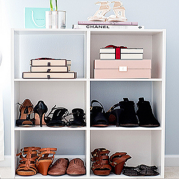 A cup of Mai - closets - gray, blue, walls, Home Depot, white, storage, shelf, shoe shelves, shoe rack, walk in closet, Lauren Conrad Style, Chanel,