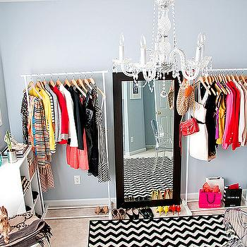 A cup of Mai - closets - doggy, gray, blue, walls, white, target, clothing racks, HomeGoods, espresso, stained, wood, floor mirror, closet chandelier, closet lighting, Pier 1 Imports Hayworth Vanity, Kartell Ghost Chair, Milliken Black and White Vibe Techno Black Rug,