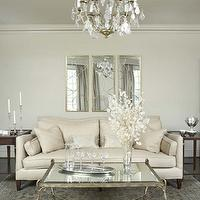Linda McDougald Design - living rooms - antique, mirrored, coffee table, ivory, linen, sofa, coffee stained, end tables, brass, crystal, chandelier, arteriors mirrors, nikita mirror, circles mirror, mirror over sofa, mirror above sofa, Arteriors Nikita Mirror - Gold,