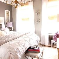 Saudah Saleem Interiors - girl&#039;s rooms - gray, walls, white, nailhead trim, headboard, white, shams, silver, metallic, pillow, ivory, shag, pillow, black, pillows, nailhead trim, bench, mirrored, cabinet, chest, sunburst, mirror, white, sheers, layered, bamboo, roman shades, West Elm Pin-Tuck Duvet,