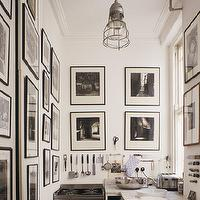 kitchens - galley, black, white, art gallery, marble, countertops, photo walls, photo wall collage, photo wall ideas,  via Pinterest  Amazing