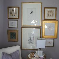 Material Girls - nurseries - gray, walls, eclectic, art gallery, mirrored, top, brass, tripod, accent table, white, glider, purple, pillow, lilac gray paint color, lilac gray paint, lilac gray walls, lilac gray nursery paint color, lilac gray nursery paint, lilac gray nursery walls,