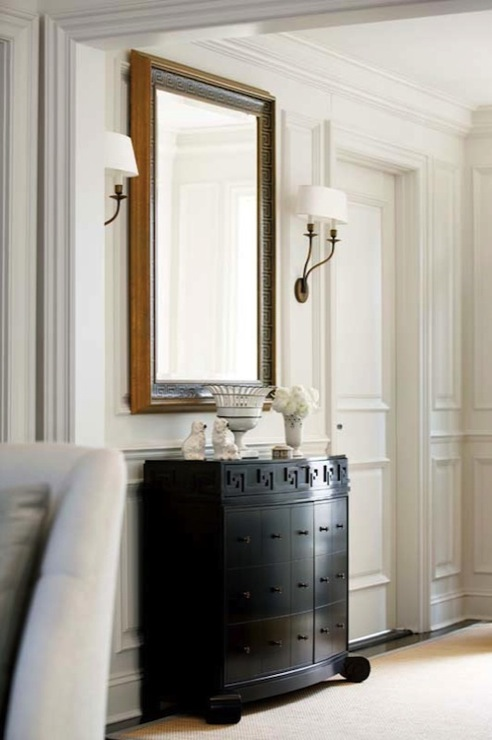 Foyer Chest With Mirror : Greek key chest transitional entrance foyer new