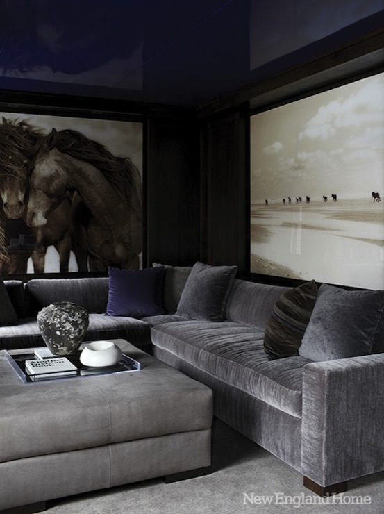 New England Home - media rooms - horse, photography, art, glossy, blue, lacquer, walls, ceiling, steel, gray, velvet, sectional, sofa, gray, square, storage, ottoman, blue, pillows, gray velvet sectional,