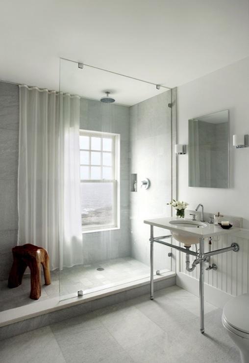 Glass shower partition contemporary bathroom new for New england bathroom ideas
