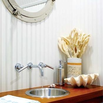 Kathleen Hay Design - bathrooms - beadboard, ceiling, walls, backsplash, porthole, mirror, polished nickel, wall-mount, faucet kit, wood, floating, bathroom vanity, metal, sink, clam shell, bathroom vanity, floating bathroom vanity, beadboard powder room,