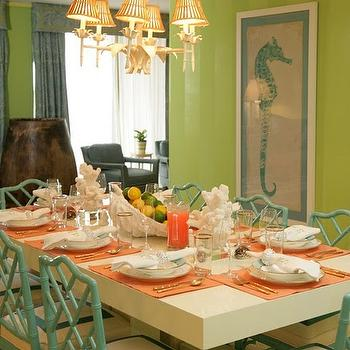 Lindsey Coral Harper - dining rooms - Granny Smith Apple, walls, green, sea horse, art, green, faux bamboo, chairs, coral, accents, teal chairs, teal dining chairs, teal bamboo chairs, teal faux bamboo chairs, seahorse art,