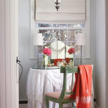 New England Home - bedrooms - gray, blue, walls, lace, skirted, round, vanity, table, camel back, mirror, green, vintage, chair, painted, green, red, gingham, seat, cushion, coral, accents, linen, roman shade, skirted make up vanity, shabby chic make up vanity,