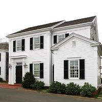 New England Home - home exteriors - New England, white, siding, black, shutters, charcoal, gray, shingles,  New England home with white siding,