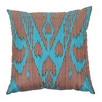 Pillows - Botanical Ikat Pillow - Turquoise/Bark - turquoise, bark, ikat, pillow