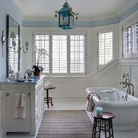 Brooks & Falotico - kitchens - blue, walls, chair rail, wainscoting, freestanding, tub, polished, marble, basketweave, tiles, floor, freestanding, tub, extra-wide, single, white, bathroom vanity, marble, countertop, orchid, turquoise, blue, chinoiserie, lantern, stool,