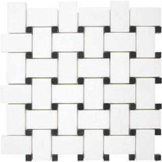 Tiles - AKDO Basket Weave Mosaics - akdo, basket weave, thassos, tulip black dots, tiles