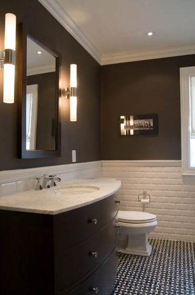 White and Brown Bathroom - Contemporary - bathroom - Toronto ...