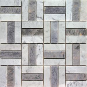 Tiles - AKDO Pinstripe Weave Mosaics - akdo, pinstripe weave, carrara, tiles