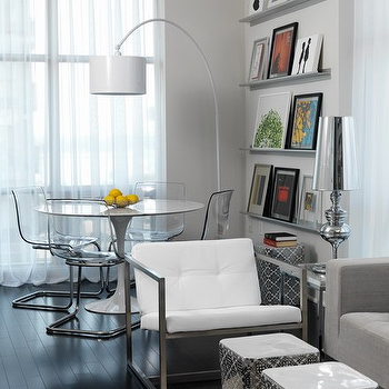 Toronto Interior Design Group - dining rooms - gray, walls, white, vinyl, drum, pendant, arc, floor lamp, stainless steel, modern, floating, wall, shelves, ghost chairs ikea, ikea ghost chairs, ghost chair ikea, ikea ghost chair, Saarinen Table, Ikea Tobias Chair,
