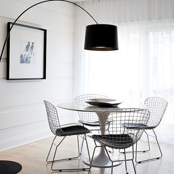 Toronto Interior Design Group - dining rooms - black, drum, pendant, arc, floor lamp, white, sheers, arc floor lamp, black floor lamp, black arc floor lamp, Bertoia Side Chair, Saarinen Table,