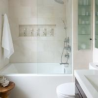 Toronto Interior Design Group - bathrooms - espresso, stained, wood, bathroom vanity, white, quartz, countertop, seamless, glass, shower door, travertine, tiles, shower surround, rain, shower head, Eames Walnut Stool,