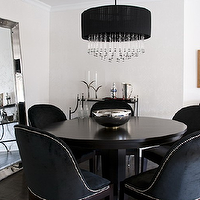 Toronto Interior Design Group - dining rooms - round, black, dining table, black, velvet, dining chairs, silver, nailhead trim, black, drum, crystal, chandelier, dining chairs, black dining chairs, velvet dining chairs, black velvet dining chairs, Restoration Hardware Venetian Beaded Leaner Mirror,