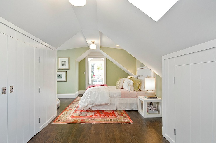 Cardea Building Co. - girl's rooms - Benjamin Moore - Spring Valley - Schoolhouse Electric & Supply Co. Newbury Surface Mount Light, Ballard Designs Stevenson Headboard, attic, skylights, pink, green, bedding, green, Greek key, pillow, glossy, white, lacquer, cube, nightstands,