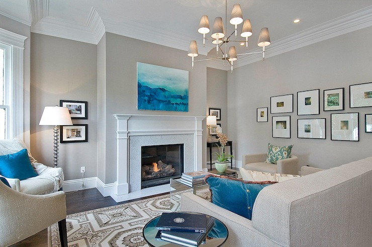 Cardea Building Co. - living rooms - Benjamin Moore - Abalone - Jonathan Adler Ventana 2 Tier Chandelier, Khanjali Ikat Pillow, gray, walls, marble, fireplace, surround, art gallery, oatmeal, linen, tufted, sofa, oatmeal, linen, barrel, chair, ivory, tufted, chairs, blue, pillows, mirrored, cocktail table, gray walls, gray paint, gray paint colors, greige paint, greige walls, greige paint colors, greige paint color, gray beige paint, gray beige walls,
