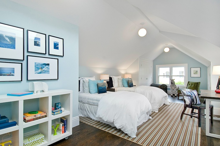 Cardea Building Co. - boy's rooms - Benjamin Moore - Fantasy Blue - Ikea Expedit Bookcase, attic, blue, walls, skylights, ivory, brown, striped, rug, ebony, wood, twin, headboards, matching, ebony, wood, nightstands, art, black, gallery, frames, attic boys room, attic boys room design,